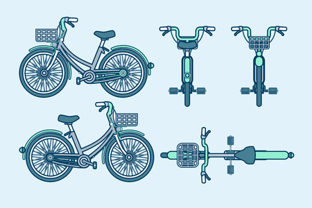 Set vector illustration isolated eco-friendly bike front, side, back view line style gray background Element for site, info graphic, video, animation, website, e-mail, newsletter, reports, comic, icon