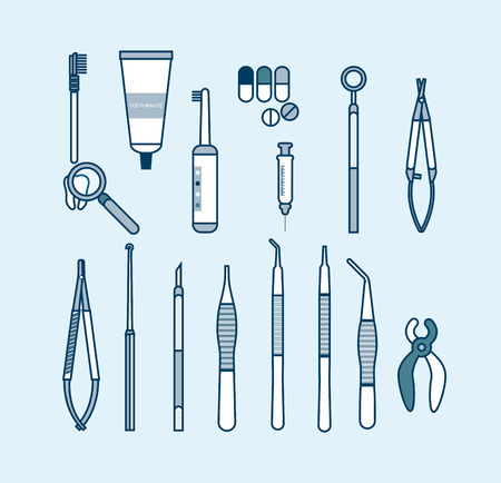 Stock vector illustration set of dental office with dental equipment in line style element for info graphic, website, icon, games, motion design, video