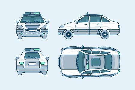 Conjunto de la ilustración del vector aislado superior del coche de policía, frontal, lateral, vista posterior estilo de línea fondo blanco información Elemento gráfico, web, icono