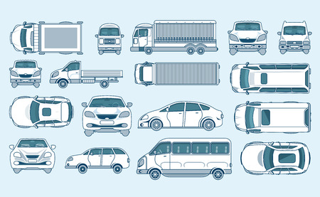 coupe: Set stock vector illustration yellow car hatchback, delivery truck, light truck with trailer, minibus, sedan top, front, side view line style gray background Element info graphic, website, icon