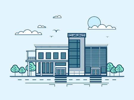 small business office: Stock vector illustration city street with administrative building, modern architecture in line style element for infographic, website, icon, games, motion design, video