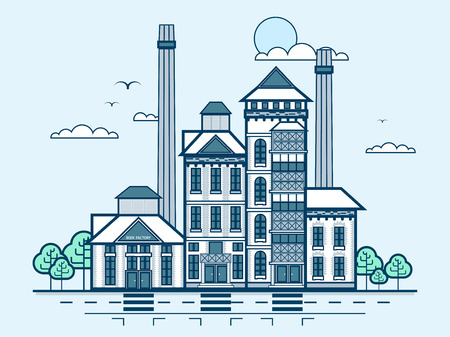 medium: Stock vector illustration city street with brewery, modern architecture in line style element for infographic, website, icon, games, motion design