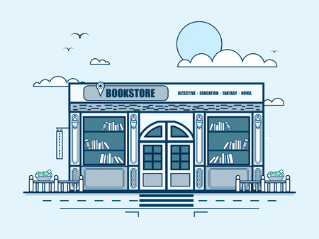 bookshop: Stock vector illustration city street with bookstore, bookshop, modern architecture in line style element for infographic, website, icon, games, motion design, video Illustration
