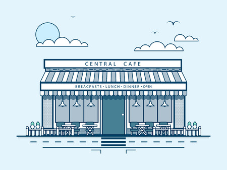 lunchroom: Stock vector illustration city street with central cafe, modern architecture in line style element for infographic, website, icon, games, motion design, video