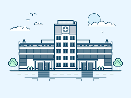 private parts: Stock vector illustration city street with contemporary multistorey hospital, modern architecture in line style element for infographic, website, icon, games, motion design, video