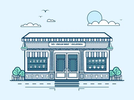 medium: Stock vector illustration city street with ice-cream cafe, modern architecture in line style element for infographic, website, icon, games, motion design, video Illustration