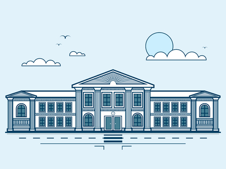 institute: Stock vector illustration city street with institute, university, academy, educational center, classical architecture in line style element for infographic, website, icon, games, motion design, video