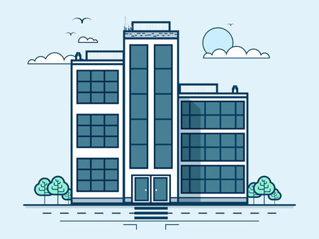 small business office: Stock vector illustration city street with office building, administrative building, modern architecture in line style element for infographic, website, icon, games, motion design, video