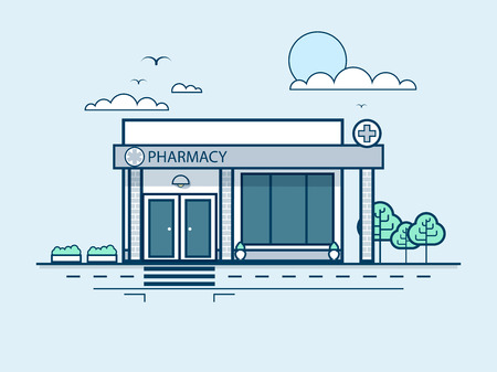 private parts: Stock vector illustration city street with pharmacy, modern architecture in line style element for infographic, website, icon, games, motion design, video