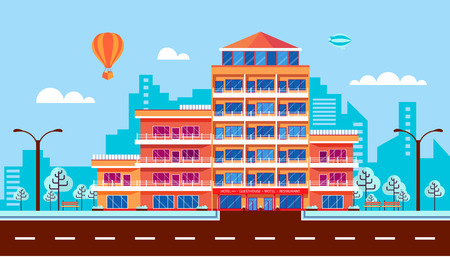 facade building: Stock vector illustration city street with hotel, apartments, apartment building, guesthouse, modern architecture in flat style element for infographic, website, icon, games, motion design, video Illustration