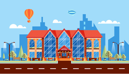 Stock Vector Illustration City Street With Hotel With Large - Hotel design games