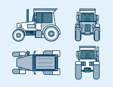 agrimotor: Set stock vector illustration isolated tractor top, front, side, back view line style blue background Element for site, info graphic, video, animation, website, e-mail, newsletter, report, comic, icon