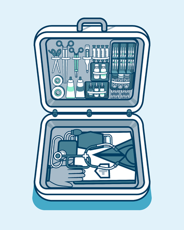 medical supplies: Set Stock vector illustration of medical supplies, drugs, pills, tools, clothing in medical suitcase in isometry line style element for info graphic, website, icon, games, motion design, video Illustration