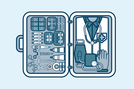 medical supplies: Set Stock vector illustration of medical supplies, drugs, pills, tools, clothing in medical suitcase in line style element for info graphic, website, icon, games, motion design, video