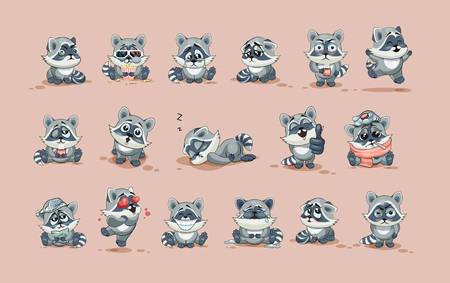 wake up happy: Set Vector Stock Illustrations isolated Emoji character cartoon Raccoon cub sticker emoticons with different emotions for site, info graphic, video, animation, website, e-mail, newsletter, report, comic Illustration