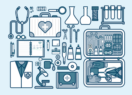 medical supplies: Set Stock vector illustration of medical supplies, drugs, pills, tools, clothing, medical suitcase in line style element for info graphic, website, icon, games, motion design, video