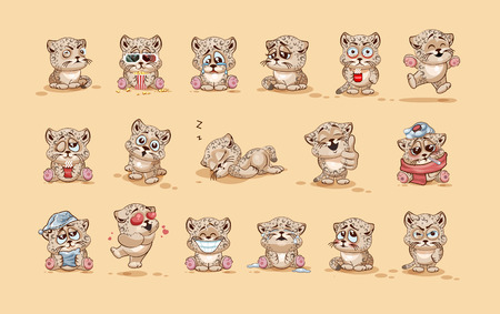 Set Vector Stock Illustrations isolated Emoji character cartoon Leopard cub sticker emoticons with different emotions for site, info graphic, video, animation, website, e-mail, newsletter, report, comic Vetores