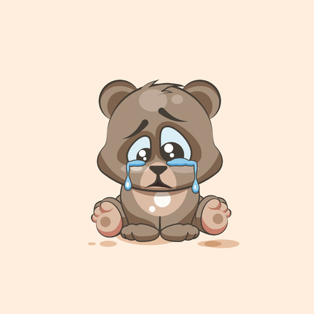 eyes looking down: Vector Stock Illustration isolated Emoji character cartoon sad and frustrated Bear crying, tears sticker emoticon for site, info graphic, video, animation, websites, e-mails, newsletters, report, comic