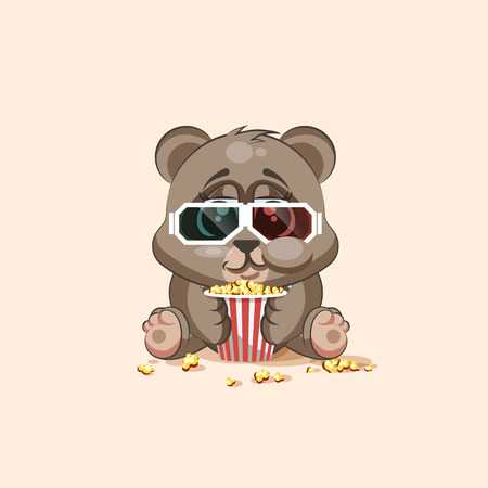 watching movie: Vector Stock Illustration Emoji character cartoon Bear chewing popcorn, watching movie in 3D glasses sticker emoticon for site, infographic, video, animation, website, e-mail, newsletter, report, comic