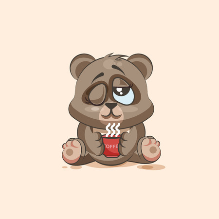 Vector Stock Illustration isolated Emoji character cartoon Bear just woke up with cup of coffee sticker emoticon for site, infographic, video, animation, websites, e-mails, newsletters, reports, comics Vector Illustration