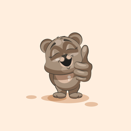 satisfied expression: Vector Stock Illustration isolated Emoji character cartoon Bear approves with thumb up sticker emoticon for site, info graphic, video, animation, websites, e-mails, newsletters, reports, comics