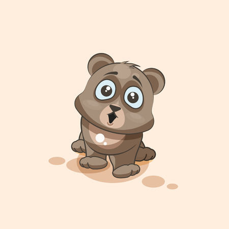 big eyes: Vector Stock Illustration isolated Emoji character cartoon Bear surprised with big eyes sticker emoticon for site, info graphic, video, animation, websites, e-mails, newsletters, reports, comics