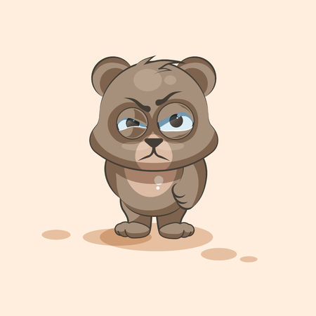 squint: Vector Stock Illustration isolated Emoji character cartoon Bear sticker emoticon with angry emotion for site, info graphic, video, animation, websites, e-mails, newsletters, reports, comics Illustration