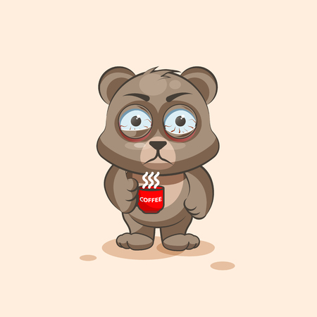 nervousness: Vector Stock Illustration isolated Emoji character cartoon Bear nervous with cup of coffee sticker emoticon for site, info graphic, video, animation, websites, e-mails, newsletters, reports, comics