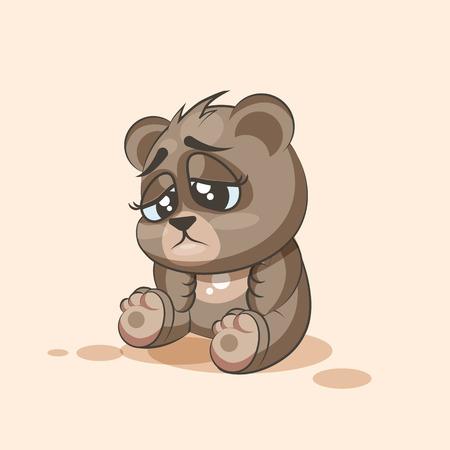 Vector Illustration isolé Emoji dessin animé Ours émoticône autocollant triste et frustré pour le site, l'information graphique, vidéo, animation, sites Internet, e-mails, bulletins, rapports, bandes dessinées