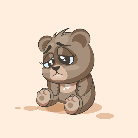 eyes looking down: Vector Stock Illustration isolated Emoji character cartoon Bear sad and frustrated sticker emoticon for site, info graphic, video, animation, websites, e-mails, newsletters, reports, comics