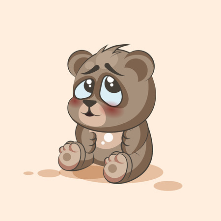ashamed: Vector Stock Illustration isolated Emoji character cartoon Bear embarrassed, shy and blushes sticker emoticon for site, info graphic, video, animation, websites, e-mails, newsletters, reports, comics Illustration
