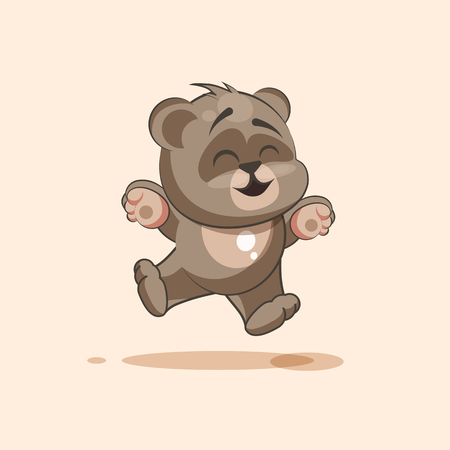 grimace: Vector Stock Illustration isolated Emoji character cartoon Bear jumping for joy, happy sticker emoticon for site, info graphic, video, animation, websites, e-mails, newsletters, reports, comics
