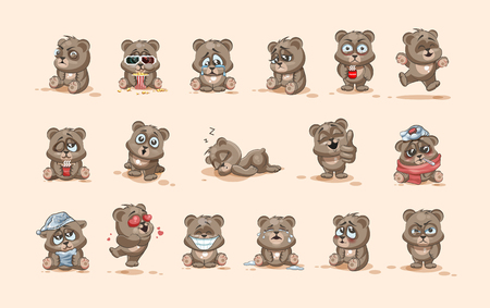 wake up happy: Set Vector Stock Illustrations isolated Emoji character cartoon Bear stickers emoticons with different emotions for site, info graphic, video, animation, websites, e-mails, newsletters, reports, comics Illustration