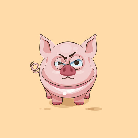 pigling: Vector Stock Illustration isolated Emoji character cartoon Pig sticker emoticon with angry emotion for site, infographics, video, animation, websites, e-mails, newsletters, reports, comics Illustration