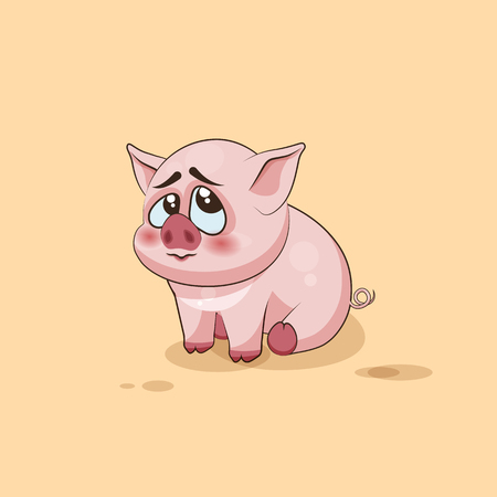 pigling: Vector Stock Illustration isolated Emoji character cartoon Pig embarrassed, shy and blushes sticker emoticon for site, infographics, video, animation, websites, e-mails, newsletters, reports, comics Illustration