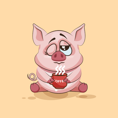 grimace: Vector Stock Illustration isolated Emoji character cartoon Pig just woke up with cup of coffee sticker emoticon for site, infographic, video, animation, websites, e-mails, newsletters, reports, comics