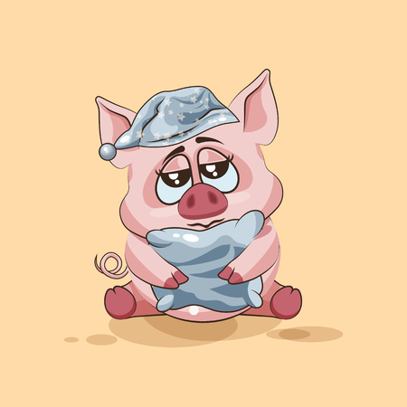 pigling: Vector Stock Illustration isolated Emoji character cartoon sleepy Pig in nightcap with pillow sticker emoticon for site, infographics, video, animation, websites, e-mails, newsletters, reports, comics