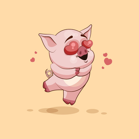 pigling: Vector Stock Illustration isolated Emoji character cartoon Pig in love flying with hearts sticker emoticon for site, infographics, video, animation, websites, e-mails, newsletters, reports, comics
