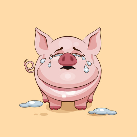 pigling: Vector Stock Illustration isolated Emoji character cartoon Pig crying, lot of tears sticker emoticon for site, infographics, video, animation, websites, e-mails, newsletters, reports, comics Illustration