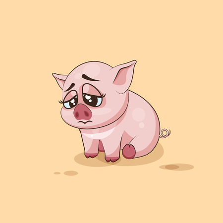pigling: Vector Stock Illustration isolated Emoji character cartoon Pig sad and frustrated sticker emoticon for site, infographics, video, animation, websites, e-mails, newsletters, reports, comics Illustration
