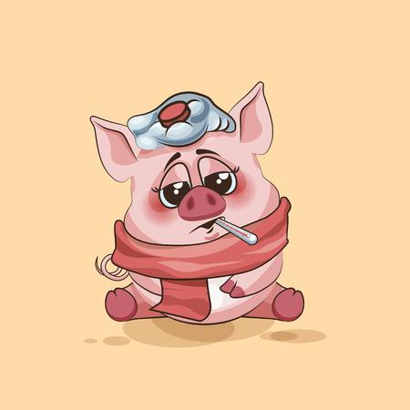 Vector de la ilustración de dibujos animados de caracteres Emoji cerdo enfermo con el termómetro en la boca emoticono personalizado para el sitio, infografías, vídeos, animaciones, páginas web, correos electrónicos, boletines, informes, cómics