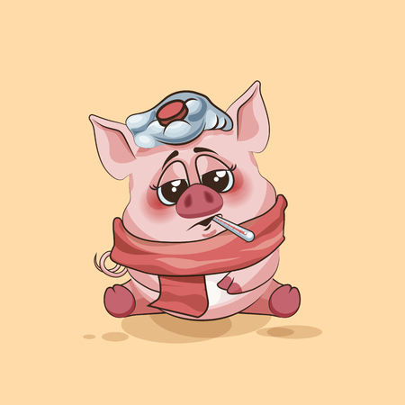 pigling: Vector Stock Illustration isolated Emoji character cartoon Pig sick with thermometer in mouth sticker emoticon for site, infographics, video, animation, websites, e-mails, newsletters, reports, comics