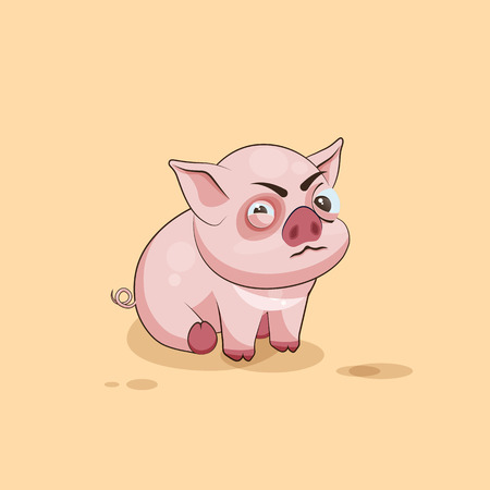pigling: Vector Stock Illustration isolated Emoji character cartoon Pig squints and looks suspiciously sticker emoticon for site, infographics, video, animation, websites, e-mails, newsletters, reports, comics Illustration
