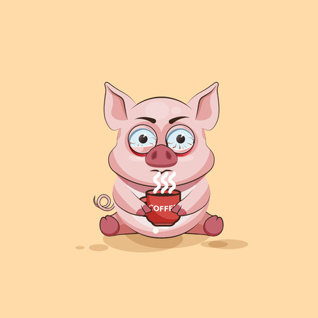 pigling: Vector Stock Illustration isolated Emoji character cartoon Pig nervous with cup of coffee sticker emoticon for site, infographics, video, animation, websites, e-mails, newsletters, reports, comics Illustration