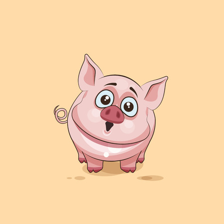 pigling: Vector Stock Illustration isolated Emoji character cartoon Pig surprised with big eyes sticker emoticon for site, infographics, video, animation, websites, e-mails, newsletters, reports, comics