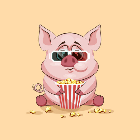 chewing: Vector Stock Illustration Emoji character cartoon Pig chewing popcorn, watching movie in 3D glasses sticker emoticon for site, infographic, video, animation, website, e-mail, newsletter, report, comic