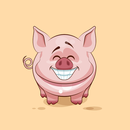 pigling: Vector Stock Illustration isolated Emoji character cartoon Pig with a huge smile from ear to ear sticker emoticon for site, infographics, video, animation, website, e-mail, newsletter, reports, comics