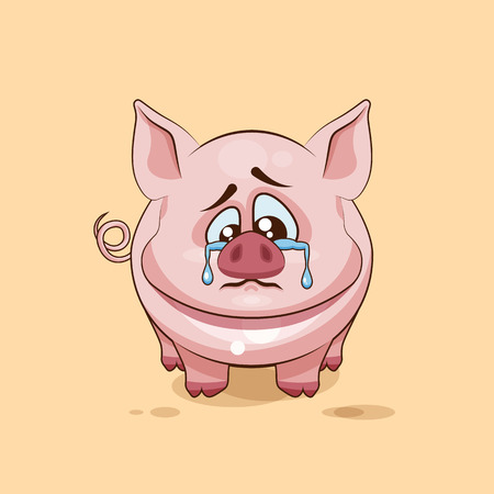 pigling: Vector Stock Illustration isolated Emoji character cartoon sad and frustrated Pig crying, tears sticker emoticon for site, infographics, video, animation, websites, e-mails, newsletters, report, comic