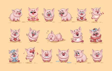 Set Vector illustraties geïsoleerd Emoji-teken cartoon Varken stickers emoticons met verschillende emoties voor de site, infographics, video, animatie, websites, e-mails, nieuwsbrieven, rapporten, comics Stock Illustratie