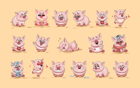 Set Vector Stock Illustrations isolated Emoji character cartoon Pig stickers emoticons with different emotions for site, infographics, video, animation, websites, e-mails, newsletters, reports, comics Ilustração